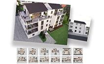 hd-3dvis-mehrfamilienvisualisierung-rendering-2X3D visualisierung + 6X3D Grundriss-preis